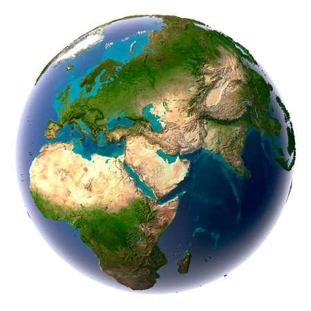 Aarde met doorzichtige water in de oceanen en de gedetailleerde topografie van de continenten