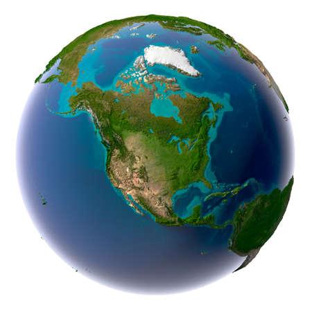Aarde met doorschijnend water in de oceanen en de gedetailleerde topografie van de continenten