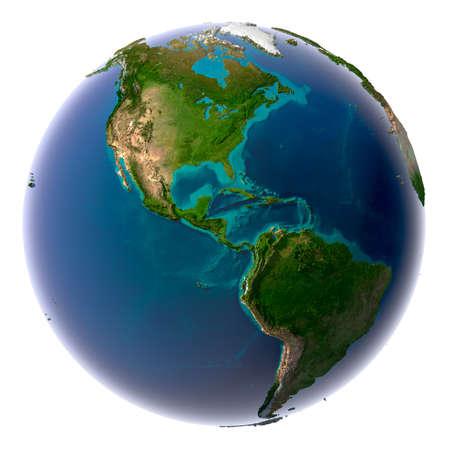 Aarde met doorschijnend water in de oceanen en de gedetailleerde topografie van de continenten Stockfoto