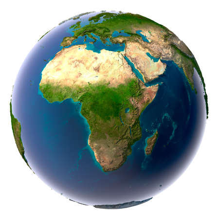east africa: Earth with translucent water in the oceans and the detailed topography of the continents