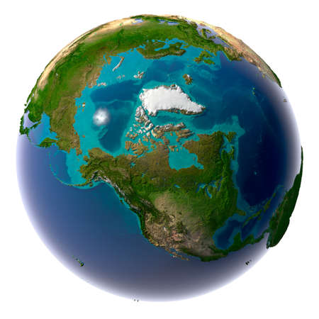 Earth with translucent water in the oceans and the detailed topography of the continents Stock Photo - 8057341