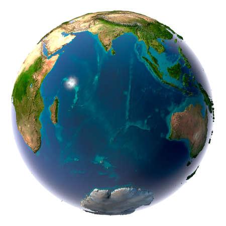 Aarde met doorzichtige water in de oceanen en de gedetailleerde topografie van de continenten. Indische Oceaan