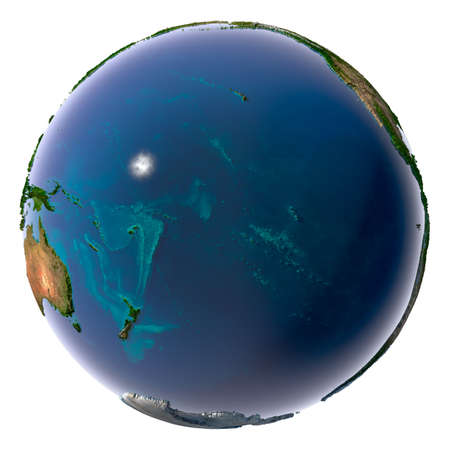 pacific ocean: Earth with translucent water in the oceans and the detailed topography of the continents. Pacific Ocean