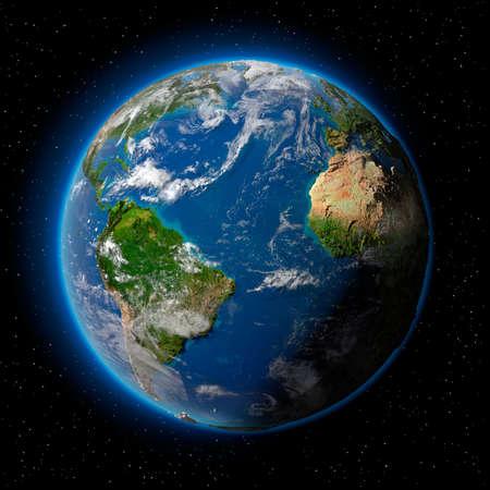 Planeta tierra con translúcido agua de los océanos, la atmósfera, la nubes volumétricas y la topografía detallada en el espacio ultraterrestre  Foto de archivo - 8057370