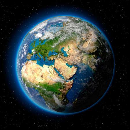 atmosfera: Planeta tierra con transl�cido agua de los oc�anos, la atm�sfera, la nubes volum�tricas y la topograf�a detallada en el espacio ultraterrestre  Foto de archivo