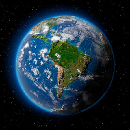 Planet earth with translucent water of the oceans, atmosphere, volumetric clouds, and detailed topography in outer space photo
