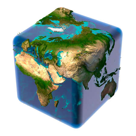 Earth as a cube with translucent body of water and a detailed relief map of the continents and ocean floor Stock fotó