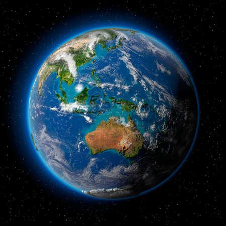 Planeet aarde met doorzichtige water van de oceanen, sfeer, volumetrische wolken en gedetailleerde topografie in de ruimte Stockfoto