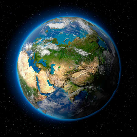 atmosphere: Planet earth with translucent water of the oceans, atmosphere, volumetric clouds, and detailed topography in outer space Stock Photo