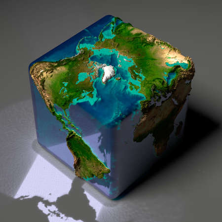 Earth is a cube with translucent water of the oceans and highlights of reflected light on a gray background table Stock Photo - 8079729