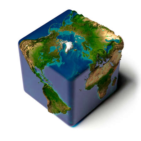 Earth as a cube with a shadow, with a translucent water, detailed relief map of the continents and oceans