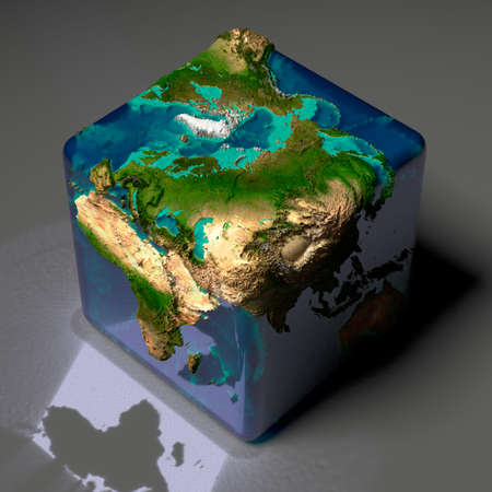 Earth is a cube with translucent water of the oceans and highlights of reflected light on a gray background table Stock Photo - 8079728