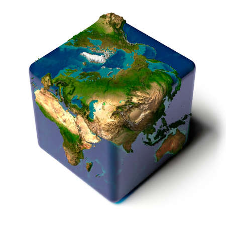 Earth as a cube with a shadow, with a translucent water, detailed relief map of the continents and oceans Stock Photo - 8079725