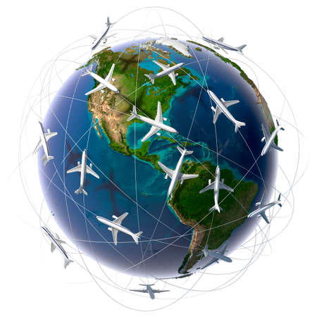 air traffic: The metaphor of international air travel around the world, travel to anywhere on the planet Earth and the workload of air traffic
