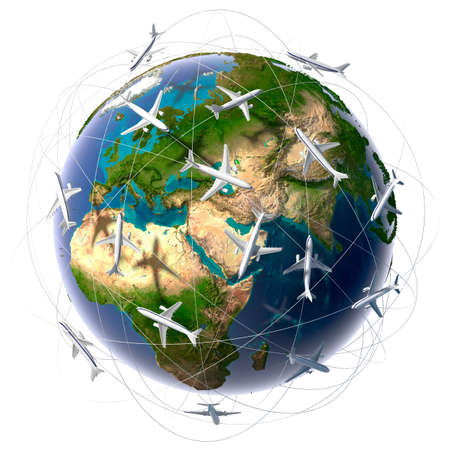 The metaphor of international air travel around the world, travel to anywhere on the planet Earth and the workload of air traffic