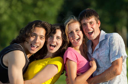 A group of young people having fun in the park in the last rays of the sun Stock Photo - 8079715