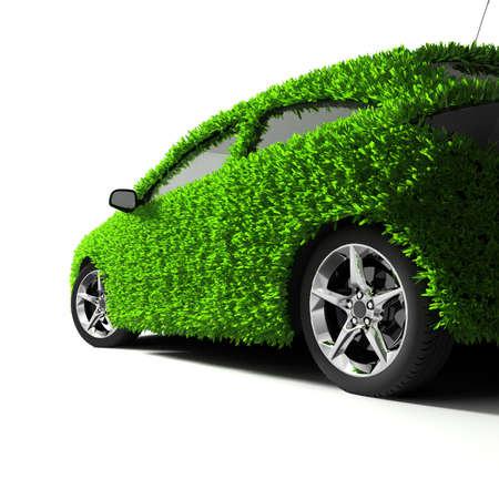 eco car: Concept van de eco-vriendelijke auto - lichaamsoppervlak is bedekt met een realistische gras