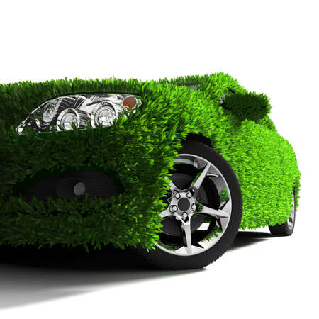 front bumper: Concept of the eco-friendly car - body surface is covered with a realistic grass