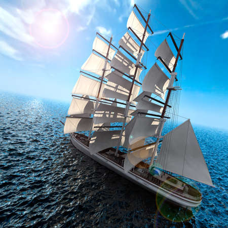 Sailing ship in the vast ocean with small waves is getting all the sails filled with sea breeze photo