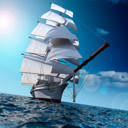 작은 파도와 함께 광대 한 바다에서 범선은 바다의 산들 바람으로 가득한 모든 돛을 얻고있다.