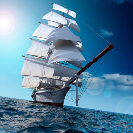Sailing ship in the vast ocean with small waves is getting all the sails filled with sea breeze Stock fotó