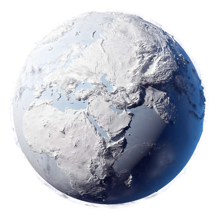 Winter planet earth - covered in snow and ice planet with a real detailed terrain, soft shadows and volumetric clouds on a white background photo
