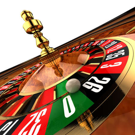 Roulette at the casino, as if photographed by a wide-angle, close-up on the ball, just about ready to fall to zero Stock Photo