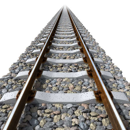 Straight-line railway tracks on the gravel with realistic rusty rails and mounts on a white background photo