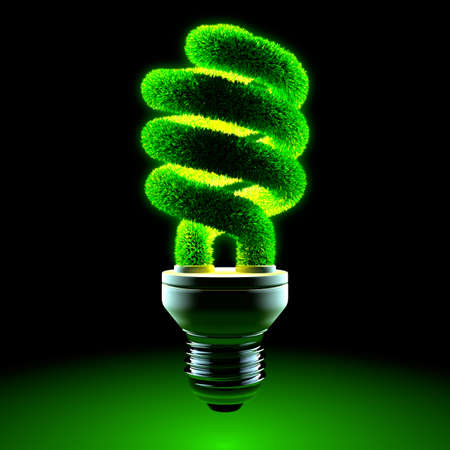 eficiencia: La metáfora de lámparas de sobremesa - vidrio de ahorro de energía tubo trenzado es cubierto de hierba y brillante en la oscuridad