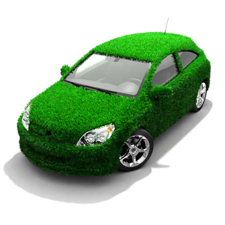 nonpolluting: Concept of the eco-friendly car - body surface is covered with a realistic grass