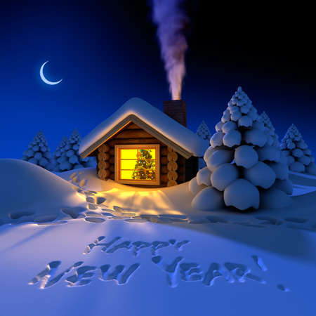 A small cottage in the fairy forest in snowy New Years Eve. Around the hut on the snow trails and an inscription - a Happy New Year! photo