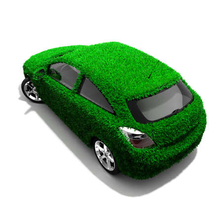 green economy: Concept of the eco-friendly car - body surface is covered with a realistic grass