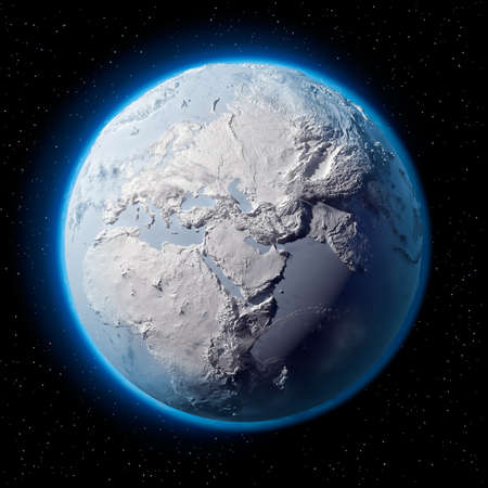 Winter planet Earth - covered in snow and ice planet with a real detailed terrain, soft shadows and volumetric clouds in space against a starry sky photo