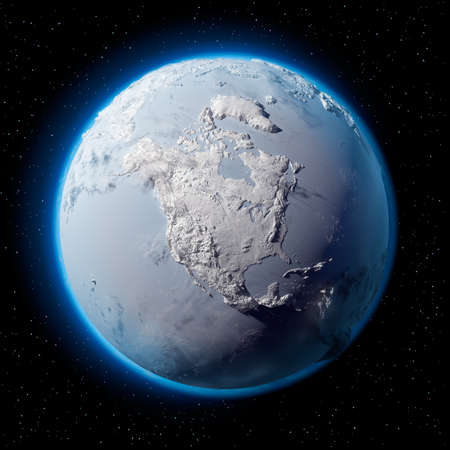 north island: Winter planet Earth - covered in snow and ice planet with a real detailed terrain, soft shadows and volumetric clouds in space against a starry sky