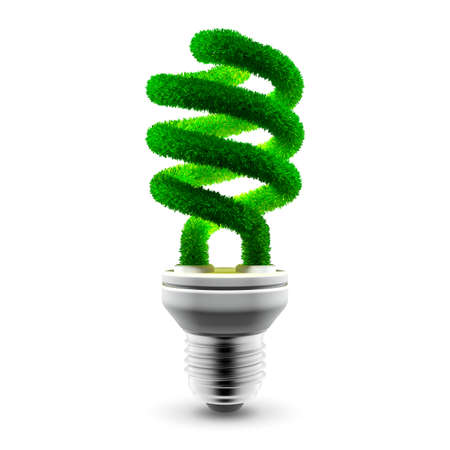 Conceptual energy saving lamp - glass spiral tube is covered with green grass