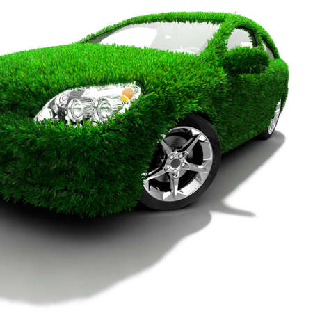 Concept of the eco-friendly car - body surface is covered with a realistic grass photo