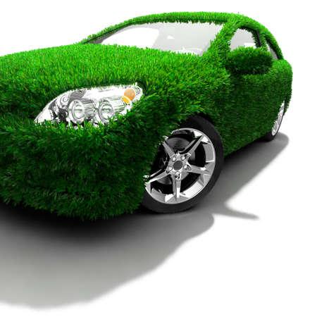 Concepto del coche ecológico - superficie corporal está cubierto con un césped realista