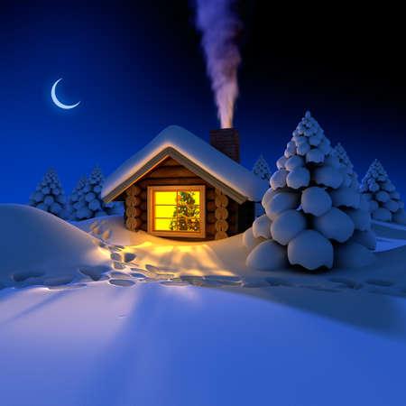 nuit hiver: Une petite maison dans la for�t de f�es au r�veillon enneig�e. Autour de la cabane sur les pistes de neige Banque d'images