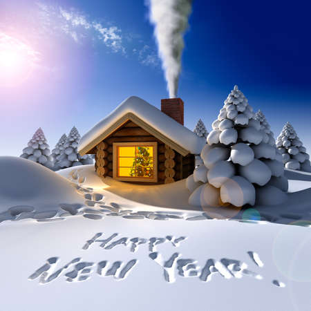 outside the house: A small cottage in the fairy forest in snowy New Years Eve. Around the hut on the snow trails and an inscription - a Happy New Year! Stock Photo