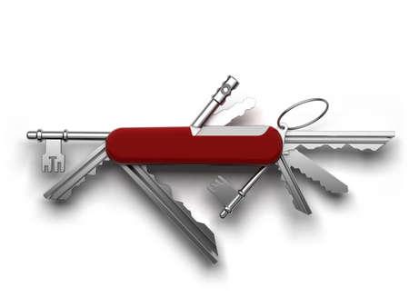 zakmes: Creatieve metafoor van universele sleutels uit de nalatenschap in een enkele tool gebaseerd op de Zwitserse zakmes van de zak