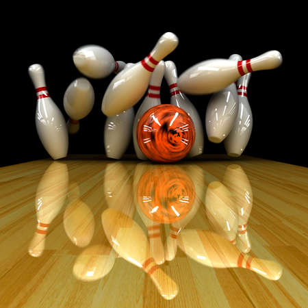 Orange ball does strike! Physically correct simulation of swirling strike in bowling with the real 3D motion blur on Stock Photo