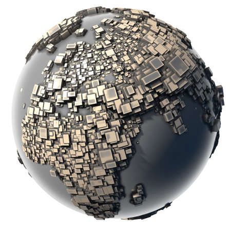 build: Earth, consisting of a cubic structure made of metal, covered with dust and abrasions Stock Photo