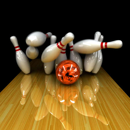 bowling: Orange ball does strike! Physically correct simulation of swirling strike in bowling with the real 3D motion blur on Stock Photo