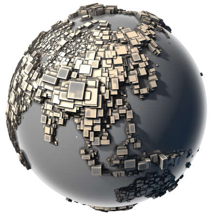 Earth, consisting of a cubic structure made of metal, covered with dust and abrasions Stock Photo - 8347263
