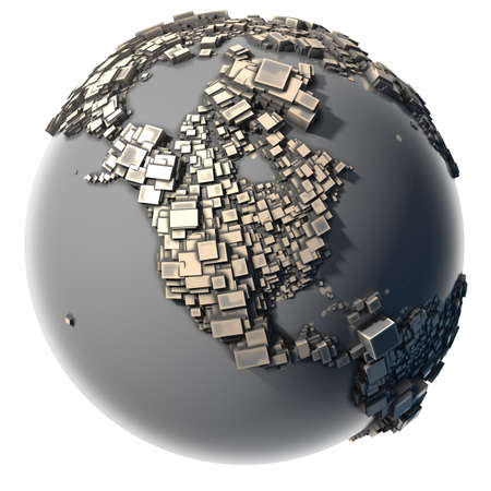 Earth, consisting of a cubic structure made of metal, covered with dust and abrasions Stock Photo