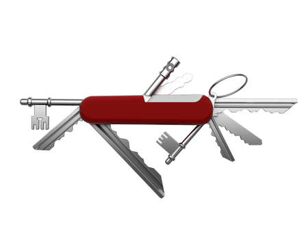 Creative metaphor of universal keys from the estate in a single tool based on the Swiss army pocket knife photo