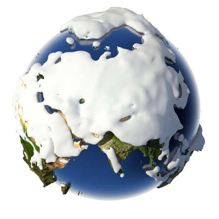 Relief planet Earth is covered with snow drifts - the concept of the winter season, snowy weather, Christmas holidays and New Year photo