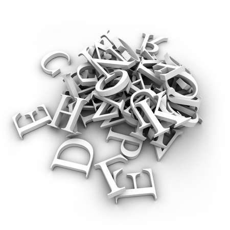 movable: Latin letters poured into a heap, isolated on a white background