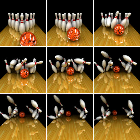 physically: Orange ball does strike! Physically correct simulation of swirling strike in bowling with the real 3D motion blur on Stock Photo