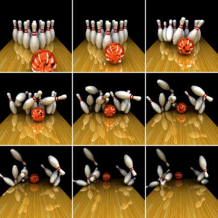bolos: Pelota naranja huelga! Corregir f�sicamente la simulaci�n de remolino huelga en bolos con el desenfoque de movimiento 3D real en Foto de archivo